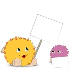 Two cartoon monster posters white background vector