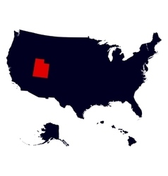 utah state in united states map vector image