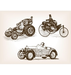 Vintage cars set sketch style vector