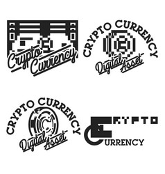 vintage cryptocurrency emblems vector image
