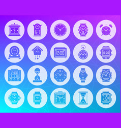 watch shape carved flat icons set vector image