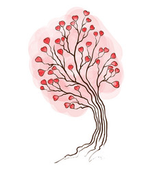 Watercolor tree with hearts vector