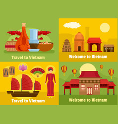 Welcome to vietnam banner concept set flat style vector