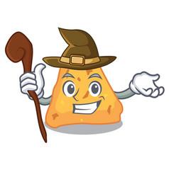 Witch nachos mascot cartoon style vector