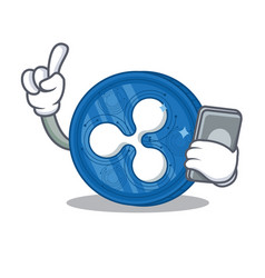 With phone ripple coin character cartoon vector