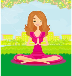 Woman doing yoga in the park vector