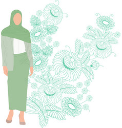 Woman in headscarf on flowers background vector