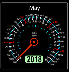 year 2018 calendar speedometer car in concept may vector image