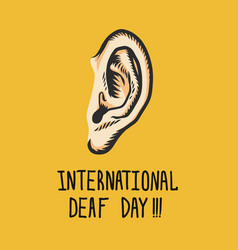 Yellow international deaf day concept background vector