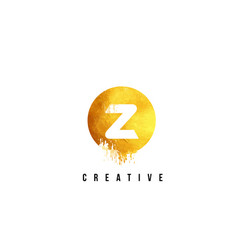 z gold letter logo design with round circular vector image vector image