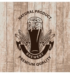 Beer glass on wooden boards vector