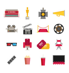 cinema icon in flat design style movie night text vector image