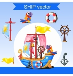 Historic ship rudder mast and two parrots vector image vector image