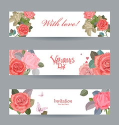 invitation cards with vintage roses with love for vector image vector image