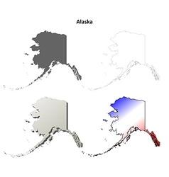 Alaska outline map set vector image vector image