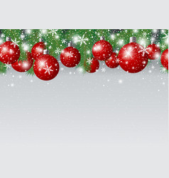 christmas background design of red xmas ball and vector image vector image