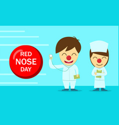 doctor and nurse in red nose day design vector image