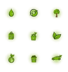 Ecology icons set pop-art style vector image vector image