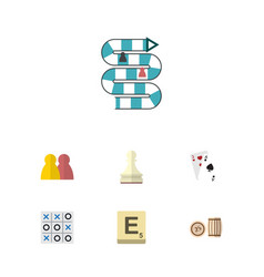 flat icon play set of ace xo mahjong and other vector image