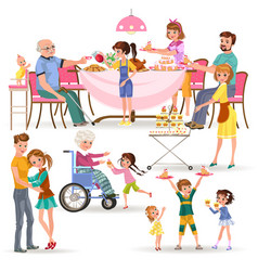 happy family eating dinner at home people eat vector image