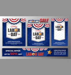 happy labor day banner set vector image