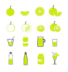 lemon and juice icons set vector image