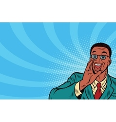 Pop art promo businessman in glasses vector image vector image
