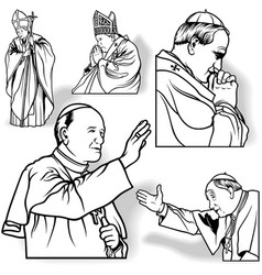 Pope set vector image