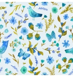 Watercolor seamless pattern with flowers leaves vector image vector image