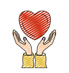 Color crayon silhouette hands with floating heart vector