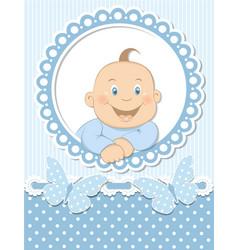 Happy baby boy scrapbook blue frame vector image vector image