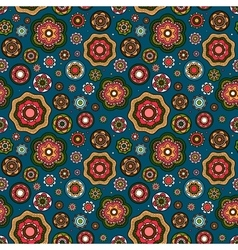 Mandala style flowers pattern vector image vector image