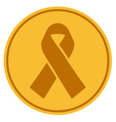 mourning ribbon gold coin vector image