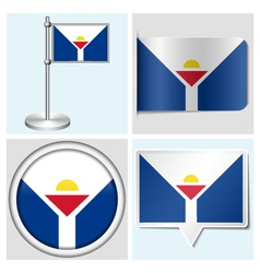 Saint Martin flag - sticker button label vector image vector image