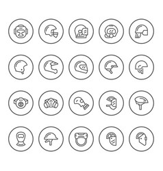 set round line icons of helmets and masks vector image vector image