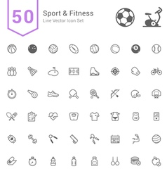 Sport and fitness line icon set vector