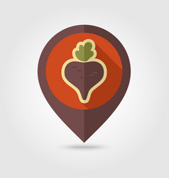 beet flat pin map icon vegetable vector image vector image