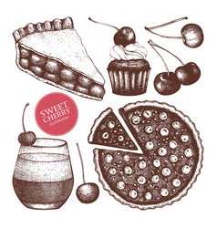 card design with cherry baking vector image vector image