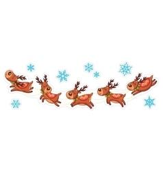 Cartoon deers Christmas stickers vector image vector image