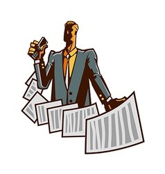 Close-up of man holding paper vector image
