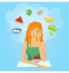 Girl decides to start a diet Want eat healthy vector image vector image