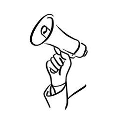hand of businessman holding megaphone vector image