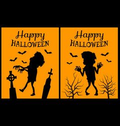 happy halloween orange on vector image