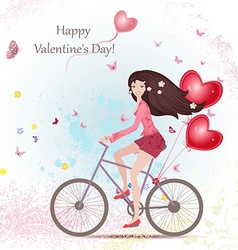happy young woman on a bicycle with red heart air vector image vector image