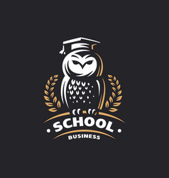 owl education logo - emblem vector image