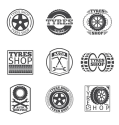 Tyre store logo Vintage car label vector image