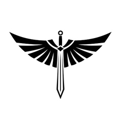 Winged sword tattoo vector image