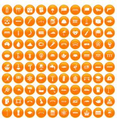 100 bridge icons set orange vector