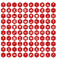 100 sweets icons hexagon red vector