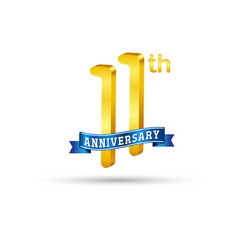 11th golden anniversary logo with blue ribbon vector